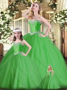 Dazzling Green Tulle Lace Up Quinceanera Gown Sleeveless Floor Length Beading