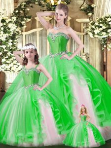 Luxury Ruffles Ball Gown Prom Dress Green Lace Up Sleeveless Floor Length