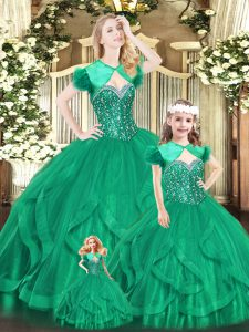 Vintage Turquoise Ball Gowns Beading and Ruffles 15th Birthday Dress Lace Up Organza Sleeveless Floor Length