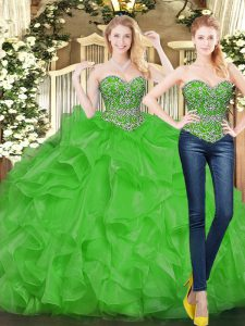 Traditional Green Sweetheart Lace Up Beading and Ruffles Vestidos de Quinceanera Sleeveless