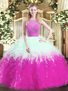 Multi-color Zipper Halter Top Beading and Ruffles Ball Gown Prom Dress Tulle Sleeveless