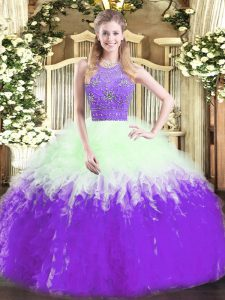 Fancy Tulle Sleeveless Floor Length Quinceanera Dresses and Beading and Ruffles