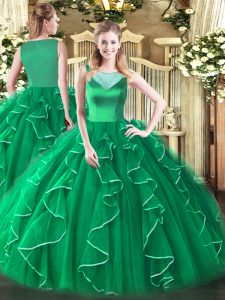Sleeveless Tulle Floor Length Side Zipper Quinceanera Gowns in Turquoise with Beading and Ruffles