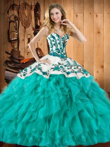 Customized Floor Length Turquoise Sweet 16 Quinceanera Dress Satin and Organza Sleeveless Embroidery and Ruffles