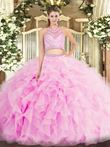 Graceful Sleeveless Backless Floor Length Beading and Ruffles Quinceanera Gown