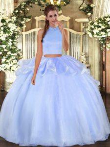 Flare Sleeveless Floor Length Beading Backless 15 Quinceanera Dress with Light Blue