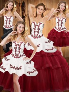 Strapless Sleeveless Lace Up Quinceanera Gowns Burgundy Satin and Organza