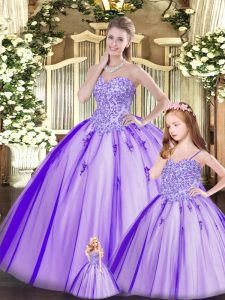 Pretty Ball Gowns Ball Gown Prom Dress Purple Sweetheart Tulle Sleeveless Floor Length Lace Up