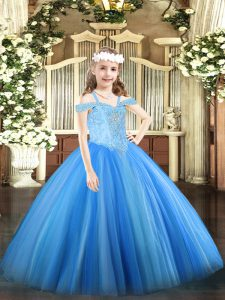 Wonderful Off The Shoulder Sleeveless Tulle Pageant Dress for Teens Beading Lace Up
