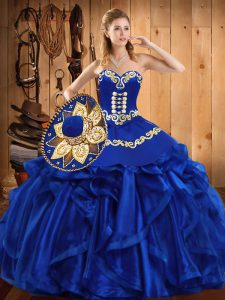 Wonderful Royal Blue Sleeveless Organza Lace Up 15th Birthday Dress for Military Ball and Sweet 16 and Quinceanera
