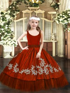 Wine Red Ball Gowns Taffeta Scoop Sleeveless Beading and Appliques Floor Length Zipper Little Girl Pageant Gowns