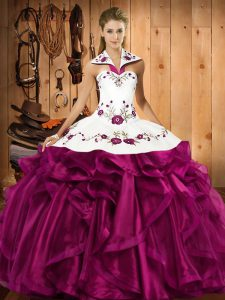 Classical Embroidery and Ruffles Quince Ball Gowns Fuchsia Lace Up Sleeveless Floor Length