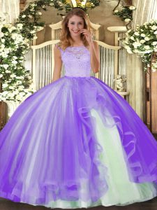 Ball Gowns Vestidos de Quinceanera Lavender Scoop Tulle Sleeveless Floor Length Clasp Handle