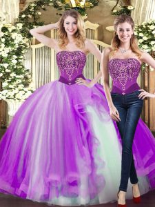 Charming Sleeveless Lace Up Floor Length Beading and Ruffles Sweet 16 Dress