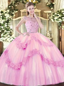 Hot Selling Bateau Sleeveless Tulle Sweet 16 Quinceanera Dress Beading and Appliques Zipper