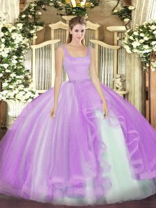 Trendy Tulle Sleeveless Floor Length Sweet 16 Quinceanera Dress and Beading