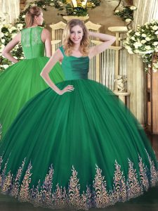 Popular Turquoise Sleeveless Beading and Appliques Floor Length Quinceanera Dresses
