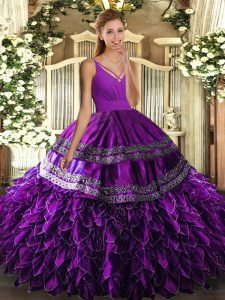 Superior Sleeveless Organza Floor Length Lace Up 15 Quinceanera Dress in Eggplant Purple with Beading and Appliques and Ruffles
