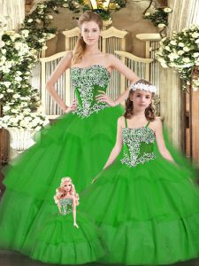 New Arrival Green Lace Up Vestidos de Quinceanera Beading and Ruffled Layers Sleeveless Floor Length