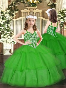 Straps Sleeveless Kids Formal Wear Floor Length Beading and Ruffled Layers Green Organza