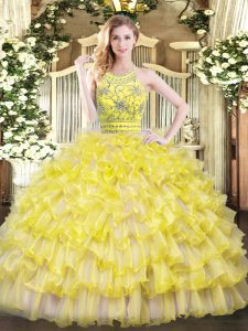 Romantic Tulle Sleeveless Floor Length Vestidos de Quinceanera and Beading and Ruffles
