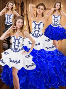 Blue And White Lace Up Strapless Embroidery and Ruffles 15th Birthday Dress Satin and Organza Sleeveless