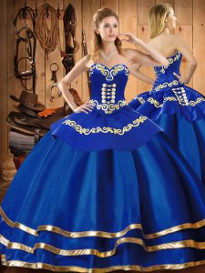 Blue Lace Up Vestidos de Quinceanera Embroidery Sleeveless Floor Length