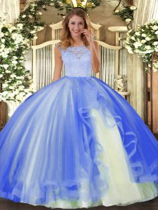 Deluxe Scoop Sleeveless Tulle 15 Quinceanera Dress Lace and Ruffles Clasp Handle