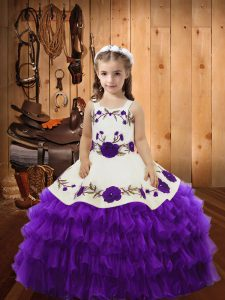 Eggplant Purple Ball Gowns Organza Straps Sleeveless Embroidery and Ruffled Layers Floor Length Lace Up Little Girl Pageant Gowns