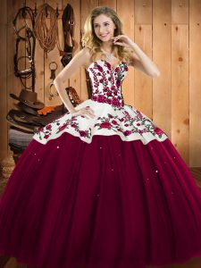 High Quality Burgundy Ball Gowns Embroidery Ball Gown Prom Dress Lace Up Satin and Tulle Sleeveless Floor Length