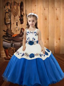 Blue Straps Lace Up Embroidery Little Girl Pageant Dress Sleeveless