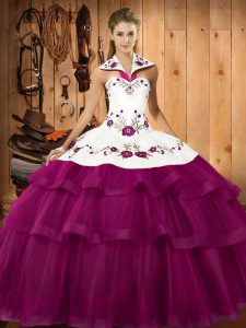 Cute Embroidery and Ruffled Layers Sweet 16 Quinceanera Dress Fuchsia Lace Up Sleeveless Sweep Train