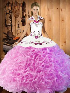 Smart Sleeveless Lace Up Floor Length Embroidery Sweet 16 Quinceanera Dress