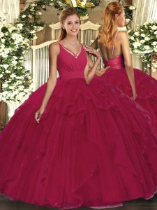 Perfect Wine Red Backless 15 Quinceanera Dress Ruffles Sleeveless Floor Length