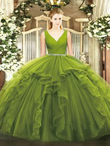 V-neck Sleeveless Zipper Quinceanera Gowns Olive Green Tulle