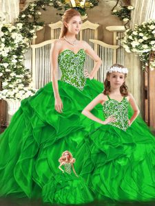 Custom Designed Green Ball Gowns Organza Sweetheart Sleeveless Beading and Ruffles Floor Length Lace Up 15 Quinceanera Dress