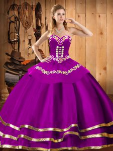 Sumptuous Fuchsia Lace Up Sweetheart Embroidery 15 Quinceanera Dress Organza Sleeveless