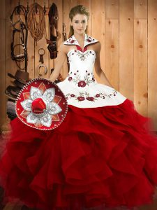 Custom Design Floor Length Lace Up Quinceanera Gowns Wine Red for Military Ball and Sweet 16 and Quinceanera with Embroidery and Ruffles