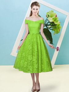 Beauteous Tea Length Yellow Green Damas Dress Off The Shoulder Cap Sleeves Lace Up