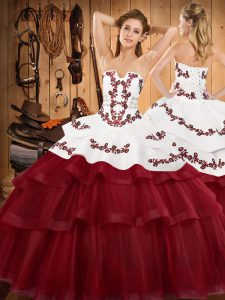 Wine Red Sleeveless Sweep Train Embroidery and Ruffled Layers Quinceanera Gown
