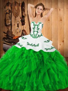 Top Selling Green Ball Gowns Embroidery and Ruffles Quince Ball Gowns Lace Up Satin and Organza Sleeveless Floor Length