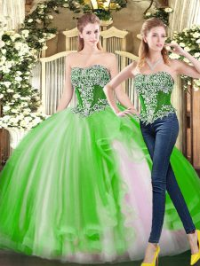 Luxury Ball Gowns Quinceanera Gowns Strapless Tulle Sleeveless Floor Length Lace Up