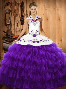Fabulous Purple Lace Up Sweet 16 Dress Embroidery and Ruffled Layers Sleeveless Floor Length