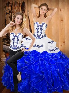 Best Floor Length Blue And White 15th Birthday Dress Satin and Organza Sleeveless Embroidery and Ruffles