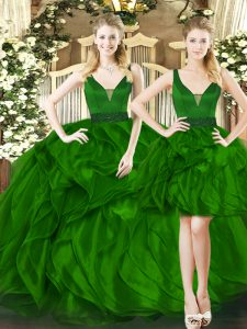 Sleeveless Floor Length Beading and Ruffles Lace Up 15th Birthday Dress with Dark Green