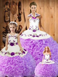 New Arrival Lilac Lace Up Quinceanera Dress Embroidery Sleeveless Floor Length