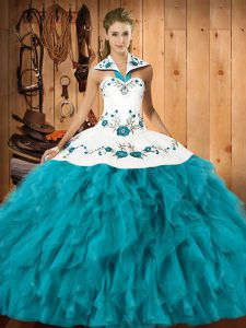 Sexy Satin and Organza Halter Top Sleeveless Lace Up Embroidery and Ruffles 15th Birthday Dress in Teal