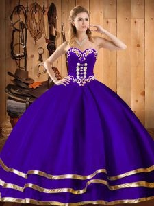 Purple Sleeveless Organza Lace Up Sweet 16 Dress for Military Ball and Sweet 16 and Quinceanera