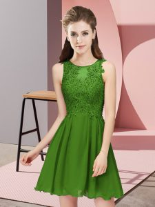 Charming Appliques Court Dresses for Sweet 16 Green Zipper Sleeveless Mini Length