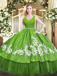 Excellent Sleeveless Floor Length Beading and Appliques Zipper 15th Birthday Dress with Olive Green